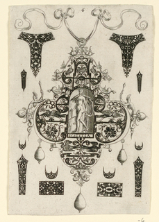 "Pendant design with bird motifs and hanging pear-shaped pearls.  Central Image: Justice,  nude women holding scale and sword.  Inscribed below image: ""IVSTITIA"".   Surrounding the pendant are blackwork ornament designs for enamelists, mostly showing possibilities for the top and sides of rings.  (Matted with 6161.1-5,7/8.2000)"