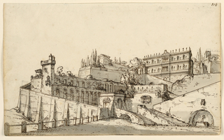 Horizontal rectangle. Palace and gardens on hillside in Renaissance style with enormous stairs and substructions.