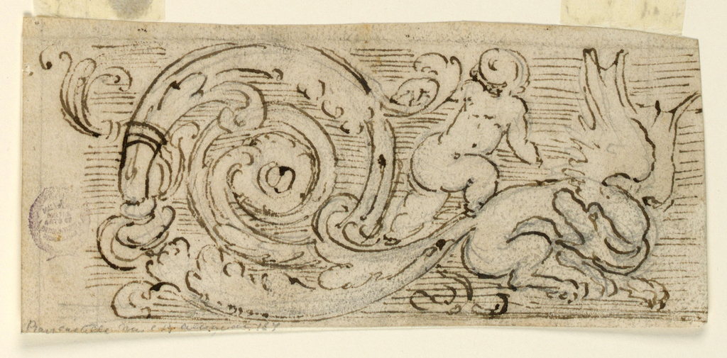 The left half of a frieze. An acanthus spiral is springing from the tail of a crouching gragon at right, whose head is turned back-wards. A putto is climbing upon the tail.