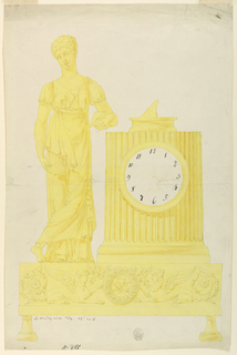 Base of clock supported by knobbed feet, at front panel are crouching sphinxes ending with rinceaux decoration. Dial set in fluted column, a sun dial on top. At left, a young woman in classical garb, carrying an opened letter.