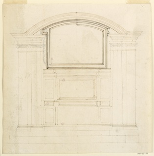 Pairs of Ionic columns or pilasters support laterally entablatures which are connected by the segment of an arch. A tripartite structure of two stories stands between the columns. On top of it is a molded frame.