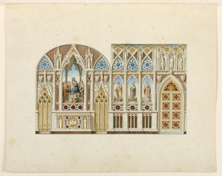 Drawing, Elevation, two wall of a chapel, ca. 1835