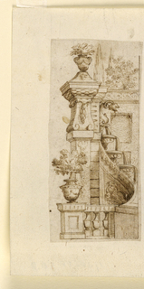 Vertical rectangle showing half a wall fountain wall and a balustrade with flowers. Framing line below and at right.