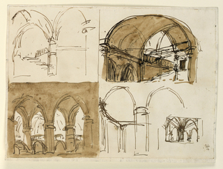 Horizontal rectangle. Four different outlining sketches for Gothic vaulted interiors.