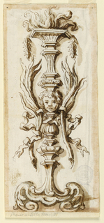 Vertical rectangle with candelabrum motif. At center, a putti head. Scrolling base and flaming top.