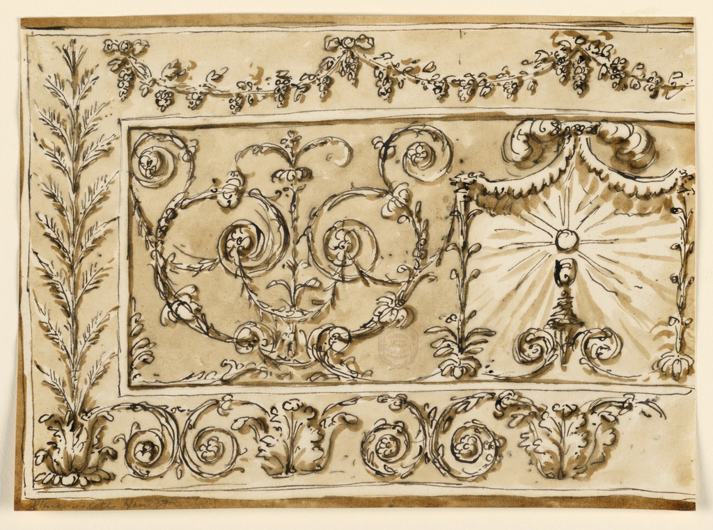 Horizontal rectangle. Somewhat more than the left half is shown. The central panel is framed by wide borders, with vine festoons above, sheaves rising from a calix at left, scrolls springing from calixes below. In the center is a pavilion of a kind, with the Host above the chalice, in a glory. Laterally is a rinceau palmette.