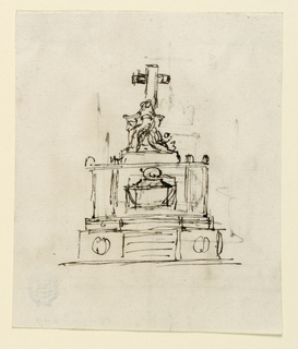 Obverse: A pedestal stands upon a podium in whose middle are steps. A sarcophagus is in front of the central part of the pedestal. Upon the pedestal stands a group, as also in 1901-39-1366.  Reverse: A rough sketch of a pedestal on top of steps with a crown and and a cross on top. In front of the pedestal is the sarcophagus with some of the figures aound it. Two candelabra are at the corners in front, compare with 1901-04-1366.