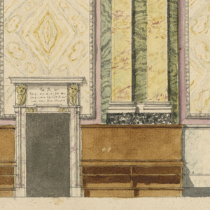Singles and pairs of pilasters support the entablature. Between them are three painted marble panels and a panel with candelabrum at left. The upper part of the door frame cuts into the central marble panel. A dado is at the bottom. Parts of it are covered by stalls of which four compartments are shown at the left of the door and two at the right. A raised throne is shown at the extreme left. Underneath is the scale.