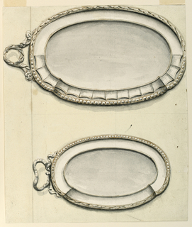 Drawing, Two oval plates, ca. 1790