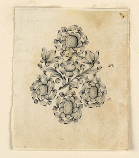 Jewelry design for an earring. A disk above, below three hanging blossoms composed of a square and vertically oblong diamonds in a calyx of leaves, with a circular frame composed of the leaves of six stems springing from the calyx. In the middle, a branch with two lateral symmetrically arranged stems and central blossom.