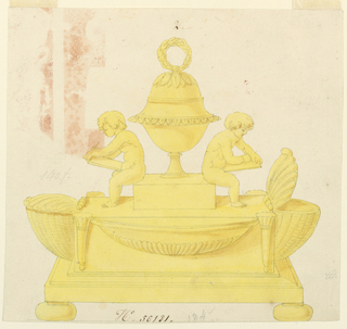 Rectangular base on cushion feet supports inkstand consisting of two inkpots in shell motif, lid open on right pot, pen holders on each side of fluted basin. A covered cup with a knop in shape of a wreath stands on a block, on which putti holding a pen and writing tablet, are seating on either side.