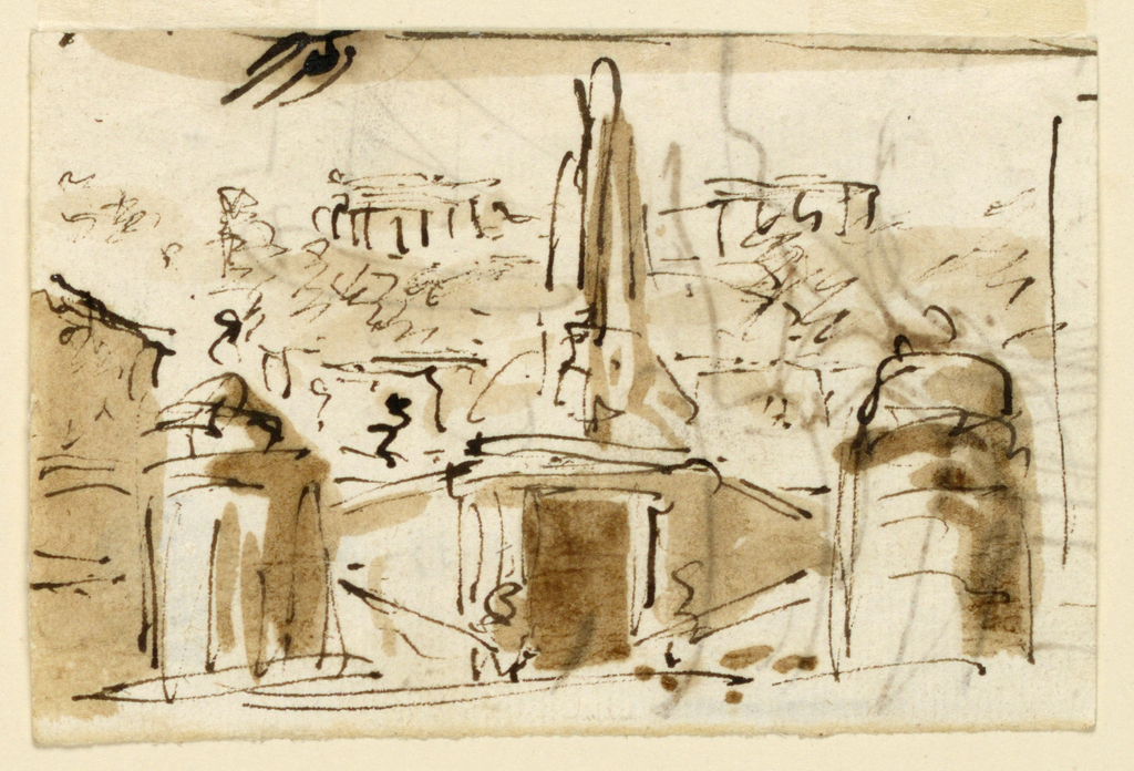 Loosely drawn view of a fountain in a landscape. Suggestion of temples on hills in the background.