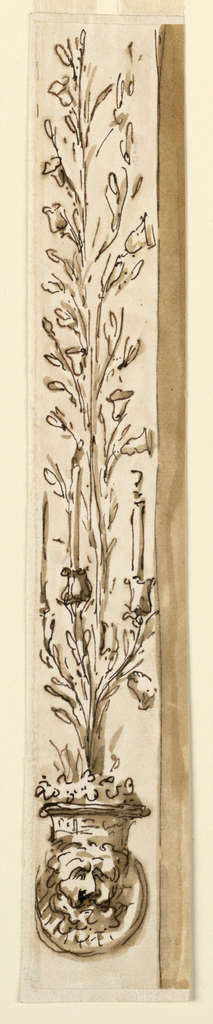 Drawing, Pillar strip with a candle bracket