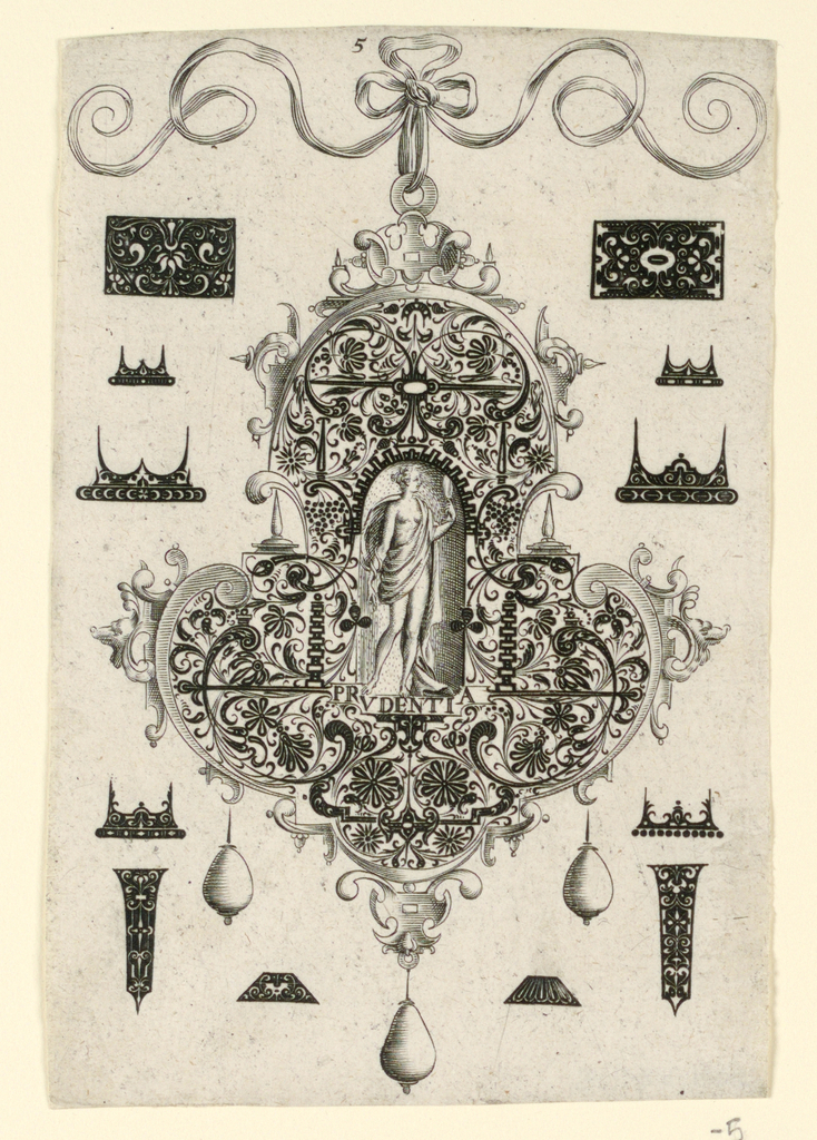 Print, Plate 5, from a series of eight pendant designs with the cardinal virtues