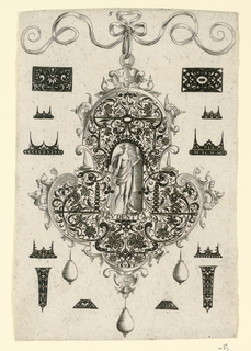 "Pendant design with floral motifs and hanging pear-shaped pearls.  Central Image: Prudence, a nude women looking into hand-held mirror.  Inscribed below image: ""PRVDENTIA"".   Surrounding the pendant are blackwork ornament designs for enamelists, mostly showing possibilities for the top and sides of rings. (Matted with 6161.1-6/8.2000)"