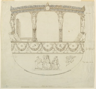 "Vertical rectangle. Design for parts of a coach more probably of Pope Gregory XVI (1831-1846) than Pope Pius IX (1846-1878). Profile view of the side of the body opposite the entrance side.  In the center of the frieze, papal escutcheon.  Three windows with angels as caryatids upon columns at the frame.  Below, a frieze with putti supporting garlands, as written at right: ""fondo cremisi con ornat/ putti di relievo dorati."" [crimson background with ornaments/ guilded cherubs relief] Below sitting- ""Figure dispinte in fondo d'oro."" [figures painted on gilded background.] Religion or Faith with Tiara, a nimbus of rays, the cross and chalice and Host, between Strength at left, Wisdom with the mirror at right.  At the sides one flying angel with a tablet is drawn.  The papal throne is visible.  Beside the frieze is written: ""fondo cremisi."" [crimson background] Below the scale: ""Palmi sette Romani."" [Romans seven palms]"