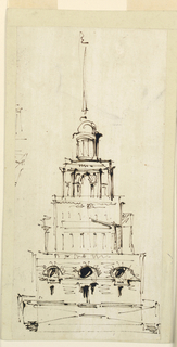 Drawing, Monument in form of an observation tower