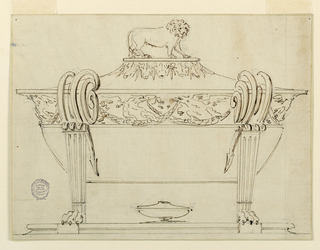 Tureen with lion paw feet and fluted pilaster legs. Scrolling handles above pilasters. Frieze wit eagles and festoons. At top, a small platform with the figure of a lion facing right.