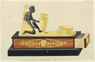 Rectangular black base supports a box, drawer in open position (at right). Box decorated with center mask flanked by stylized leaf motifs. On top of box, a crouching black figure, two arrows at his back, reaching towards a classical vase, a flat circular bowl at right.