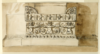The pilaster is flanked by embedded columns. The pedestal is formed like the front of an antae sarcophagus. The body shows half-figures of putti, alternately with palmettes, the cover, triglyphs and lilies. Colored background.