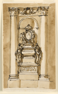 Intended for an intercolumniation between two embedded columns, and in a niche. Between the capitals is a frieze with an escutcheon supported by two flying putti, in front of drapery festoons. Below is a stereobate. The monument has below a pedestal with a high base, and a panel with a relief of figures. Above it stand two female allegories, leaning against the sarcophagus, which has the general shape of an urn upon a high base. Upon the cover kneel, at left a winged putti, in the center a putto and support the oval medallion with a bust portrait, sided by another putto, flying at right. Both putti support with their left hands the crown at top.