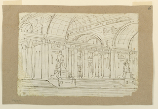 Horizontal rectangle. Entrance to antique hall across stairs decorated with sculptures.