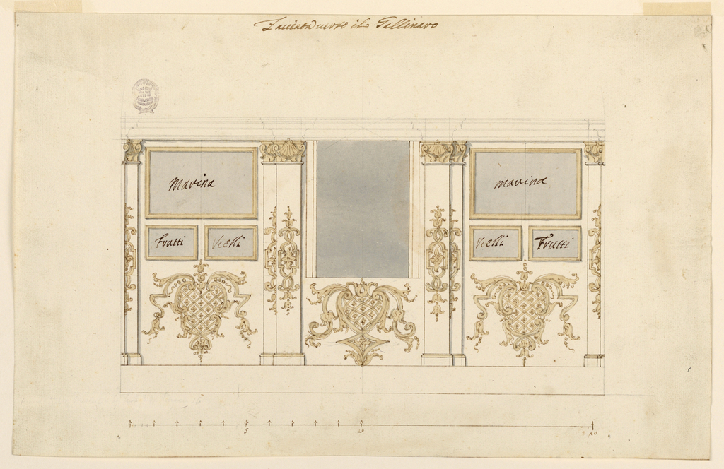 Three compartments framed by pillars supporting the mouldings. In the central compartment a window; in the laterals, labeled picture frames. Escutcheon below the pictures and the windows, and in the middle of the pillars.