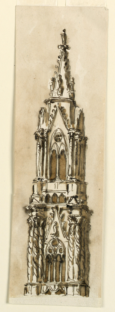 Drawing, Steeple in Gothic Style