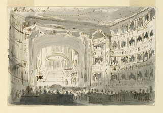 Horizontal rectangle. Interior of theatre at Brescia showing boxes, stage and architectural stage setting, and large audience of spectators.