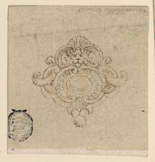 An escutcheon contains a comparatively small diamond; in the center above the mask of a lion. Scrollwork surround. Below hangs a pearl.