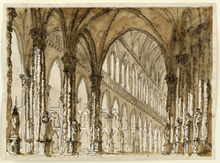 Drawing, Interior of Gothic cathedral