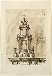 Below is a part of an entablature. The scheme of the steeple follows in a general way that of the Sapienza Statues of angels stand upon pedestals obliquely in front of the dado of the first story. In front of its central part two figures support a circular medallion. At right is a part of the plan of the upper story. Colored background.