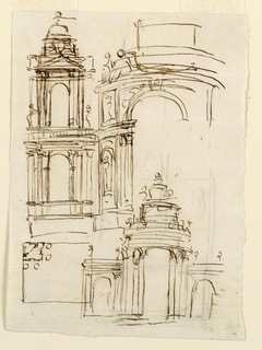 Drawing, Two stories of a steeple; doorway for a villa