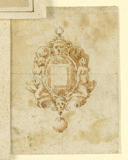 Drawing, Design for pendant with masks and woman, 16th century