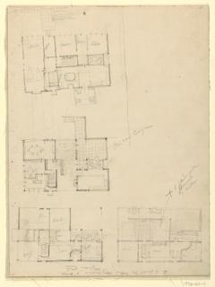 Drawing, Four Floor Plans, Villa Stein-de Monzie, Garches, France