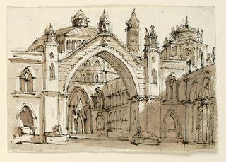 Horizontal rectangle. Group of Gothic buildings with central church beyond large arch.