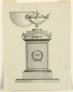 Vertical rectangle. Design for an oil-burning lamp. The lamp is a covered bowl, standing upon a pedestal. A band surrounds its upper part, showing three ram heads fastened to it, above which the fires burn. A half-circular eyeshade is fastened by an arch to a pomegranate on top of the bowl. The upper part of the pedestal is shaped like the cover of a sarcophagus, with heads at the corners. In the panel of the front of the pedestal are two butterflies in a wreath. At the upper right edge are remnants of a framing ink line.
