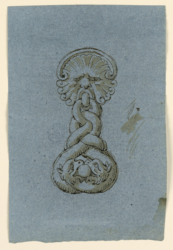 Design for a doorknocker with mask and two entwined griffins sharing a pearl in their mouths.