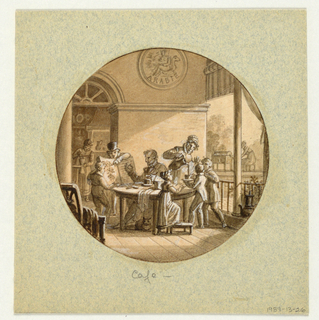 Six figures are grouped on the porch of a coffee plantation house in Arabia (indicated by the decorative plaque above the wall moulding.  A gentelman in high hat points to a botanical book showing a drawing of the coffee plant.  A man, seated at a table, appears to be holding a coffee bean pod in his right hand.  To his left, a woman is pouring coffee into a cup held by a young boy.  A woman, seen through the doorway (rear left) is grinding coffee beans.  Another woman, seen outdoors (rear right) appears to be working at a bean roasting apparatus.