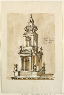 Rising from the uppermost part of the roof. Below is a story like an open square pavilion with lamps at the corners of the dado and figures at the upper corners. The second story is a similar pavilion of smaller diameter and without lamps and figures. On top is a sepulchral obelisk, with putti above the sarcophagi. Colored background.