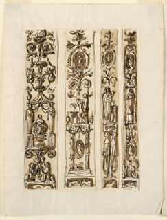 One beside the other, separated by empty strips. Each decoration follows the scheme of the candelabrum, starting below from a box-like base. The first two strips are of a greater width than the last ones. Left row: two crouching lions support the stem of a palmette flower above which rises a pavillion with a goddess inside sitting upon clouds. A plant candelabrum springs from the roof of the pavilion. Charcoal lines are at the left edge. Second row: Two fighting animals are represented at the base. Above is a plant candelabrum, with an ovoidal medallion with a figure in the center. Third row: A rabbit is represented at the base. Two female gaines are shown in profile; they support a base upon which stands a woman performing a sacrifice. Above similar to the second row. Fourth row: Two crouching sphinxes support a stem, in whose center is an ovoidal medallion with a figure, which supports a niche in which a statue stands. ABove are candelabrum motifts with another medallion and two sitting children.