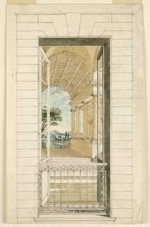 Vertical rectangle. Detail of decoration, open door or window with wrought iron decoration showing view into hall with coffered ceiling that opens onto view of mountain landscape.