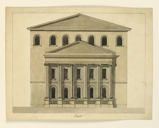 Horizontal rectangle. Three storied building with a pedimented roof, with a six-columned projecting pedimented portico of Ionic order.