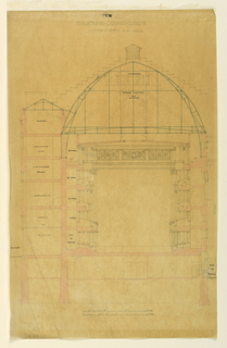 Cross-section of a theater with domed roof. Inscribed at top. Scale at bottom. The theater was part of the amusement park Cirque des Champs Elysées.