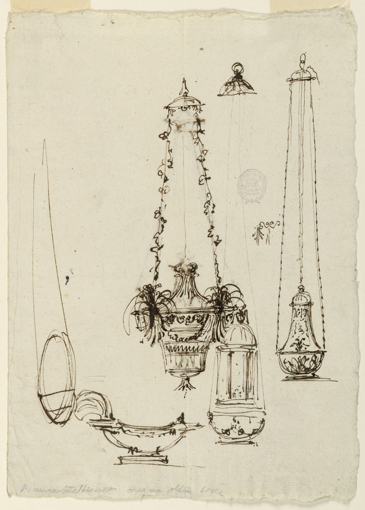 Loose sketches. Censer with floral chains.