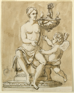 A round plinth with bands of acanthus decoration supports a column upon which sits a semi-nude woman holding a aloft a flaming brazier in her left hand. At her side, Cupid with his quiver stands on one foot.