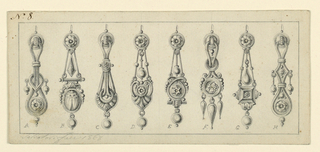 Drawing, Designs for eight earrings, 1868