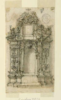 Elevation of an alter with alternative designs. At top, a triangular pediment topped with angels and a cross. At sides, columns are raised to different heights. Niche and tablet below are empty and undecorated.