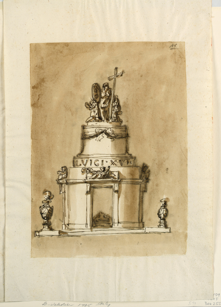 Drawing, Monument of King Louis XVI of France