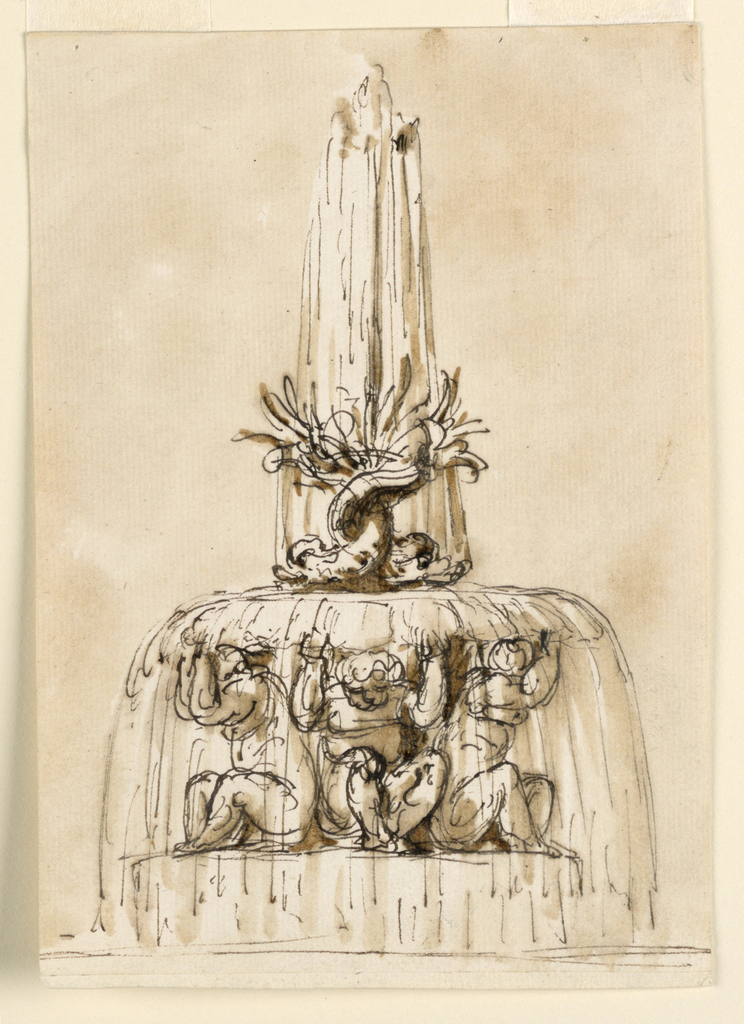 Four putti sit upon a circular pedestal, supporting the upper basin on their heads and raised hands. Two dolphins with raised and entwined tails are in the center if the upper basin. Out of the dolphins' tails, water springs up and flows down into the top and bottom basins. Below, the rim of the lower basin is lightly sketched.